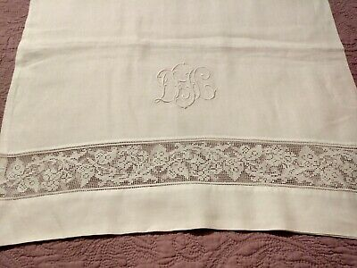 Gorgeous Vintage / Antique Italian Filet Lace Embroidered Linen Pillowcase 42x21