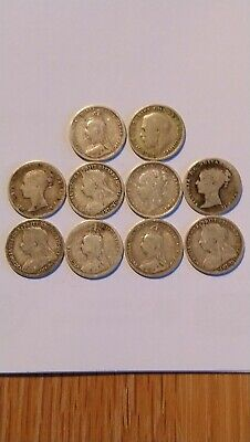 Collection Silver Threepence Coins Inc 1883 Jubilee Head