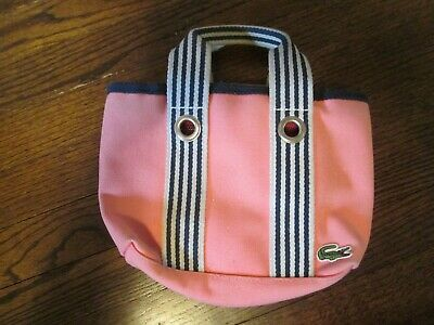 5305c135859 Lacoste Small Pink Tote Bag Handbag With Black & Gray Striped Accent/Handle