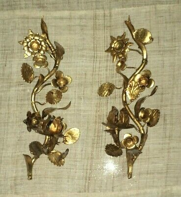 PAIR of Vintage GOLD GILT Hollywood Regency TOLE Candle SCONCES Holders ITALIAN