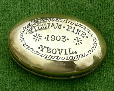 "Oval Brass ""Miner's"" Snuff Box Named To ""William Pike"" Of Yeovil & Dated ""1903"""