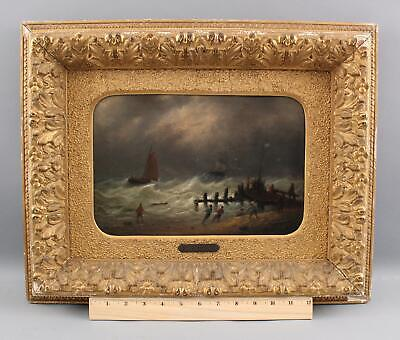 Small 19thC Signed Antique Maritime Seascape Rough Seas Oil Painting NR