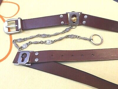 Vintage Gianni Versace Leather Belt With Keychain