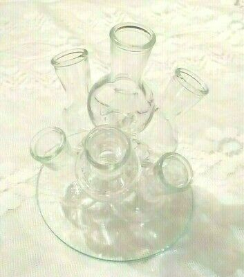 Cluster Flower Vase Holder Flask Beaker 7 Bud Holders with Glass Tray Vtg    #47