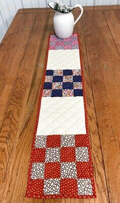 Farmhouse PA Vintage Checkerboard QUILT Table Runner 40 x 8 RED Blue Pink