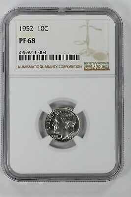 1952 Roosevelt Dime 10C Silver Ngc Certified Pf 68 Proof Uncirculated (003)