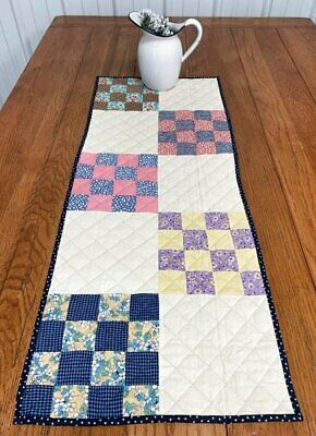 Farmhouse PA Vintage Checkerboard QUILT Table Runner 40 x 16 BLUE Pink