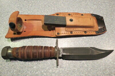 VINTAGE PILOT'S SURVIVAL Knife w / Sheath Military Unmarked
