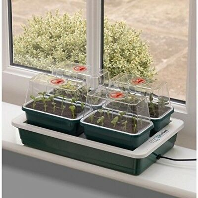 Electric Plant Propagator Seed Heated Tray Incubator Greenhouse Indoor 4 Pot