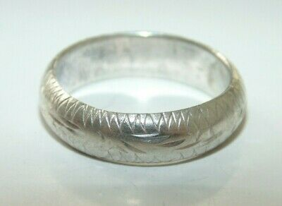 Vintage Unisex Mens Sterling Silver Rounded Engagement Wedding Band Ring Size 8