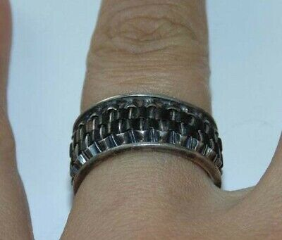 Vintage Mens Sterling Silver Wide Woven Wires Pinky Band Ring US Size 8 925