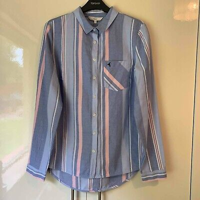 Next Blue Pink White Striped Oversized Casual Collared Long Sleeve Shirt UK 10