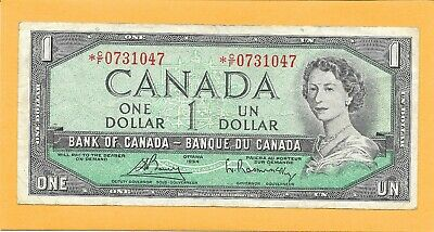 1954* Replacement Note Canadian 1 Dollar Bill *C/F0731047