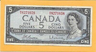 1954 Canadian 5 Dollar Bill M/X8271658 (Circulated)