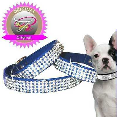 Cani Strass Collare Cani Art pelle Collare in Royal Made in Germany XXS-M F8