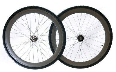 NEW 700c WHITE bike wheel V 51mm Alloy Wheel Set fixie bike road bicycle 296850