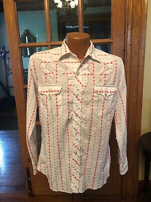 3c060a40 MENS VINTAGE H Bar C Ranchwear Red Striped Pearl Snap Western Shirt ...