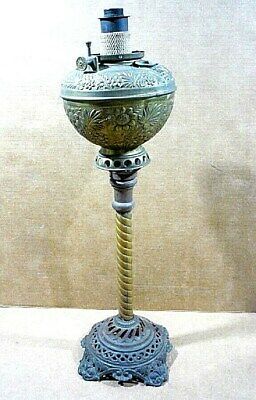 Antique B & H Bradley & Hubbard ornate oil lamp & tall fancy base w/ spiral stem