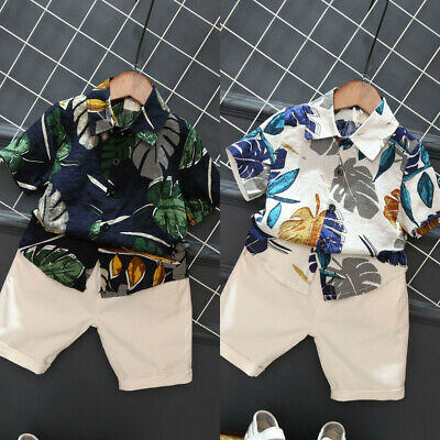 AU Summer Toddler Kids Baby Boy Clothes Outfits Tropical Shirt Tops +Short Pants