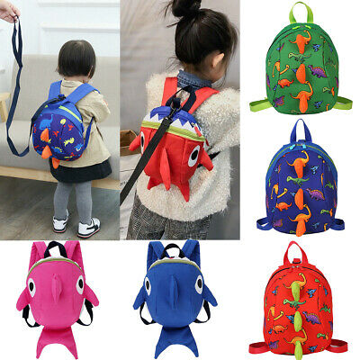 AU Kids Baby Safety Harness Backpack Leash Toddler Anti-lost Dinosaur Shark Bag