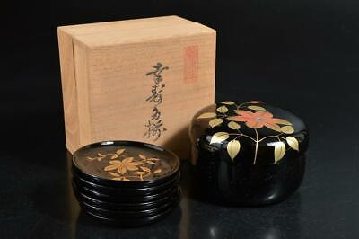 T1169: Japanese Wooden Lacquer ware TEA CADDY Chaire Container SMALL PLATE/dish