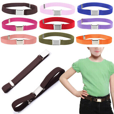 Kids Toddler Belt Elastic Adjustable Stretch Unisex Belts Silver Square Buckle