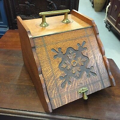 Antique Early 1900s Wood Brass Coal Scuttle Ornate Box Holder 20 Century