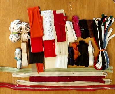 Vintage Misc. Lot of Sewing Zippers, Pipping, Elastic, etc.