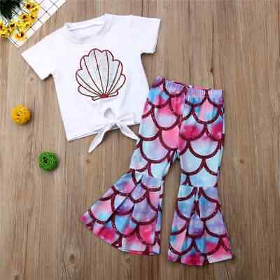 NWT Mermaid Girls Silver Shell Crop Top Fish Scale Flare Leggings Outfit Set