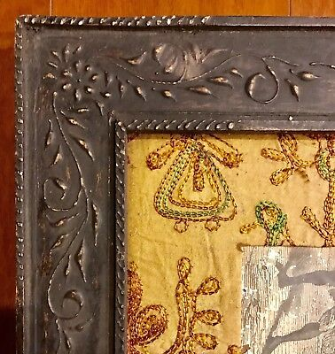Fantastic Antique Folk Art & Crafts Wood Hand Carved Mission Relief Frame Tramp