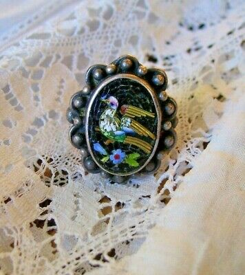 Antique Victorian Italian Micro Mosaic Ring Set In Sterling Silver size US 5.