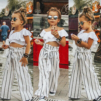 AU Toddler Baby Girls Clothes Crop Ruffle Sleeve Top Stripe Pants Casual Outfit