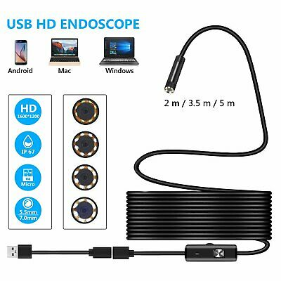 5.5/7mm USB Endoscope Borescope Inspection Tube Camera For Android Mobile UK