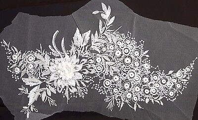 Large 3D White Sequined Floral Embroidery Applique Motif Lace Sewing Trim-EB0278