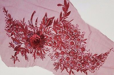 Large 3D Wine Red Sequined Floral Embroidery Applique Motif Lace Sew Trim EB0318