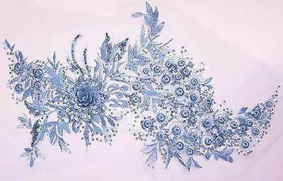 Large 3D Light Blue Sequined Floral Embroidery Applique Motif Lace Sewing EB319