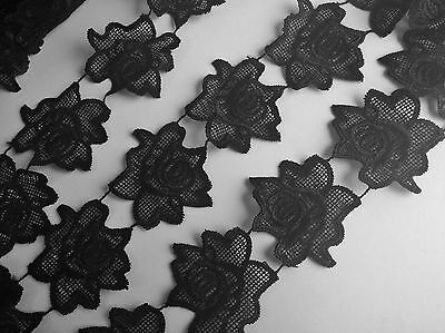 Black Rose Embroidery Guipure Lace Sewing Applique Motif Haberdashery   (LC0020)
