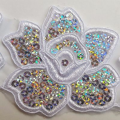 4flowers Sequined White Floral Embroidery Applique Motif Lace Sewing Trim EB0298