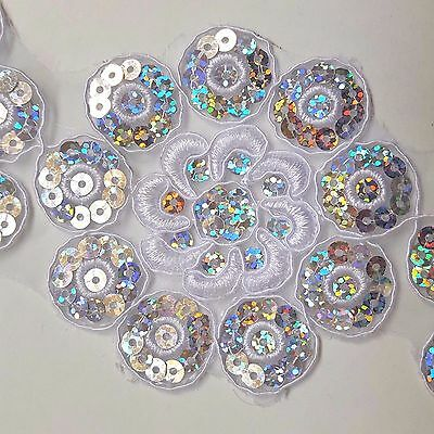 4flowers Sequined White Floral Embroidery Applique Motif Lace Sewing Trim EB0297
