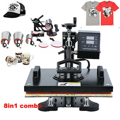8 in 1 Heat Press Transfer T-Shirt Mug Hat DIY Sublimation Printer Machine 12x15