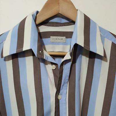 Jigsaw Brown Mens Striped Shirt Blue Brown & Cream Size M Long Sleeve