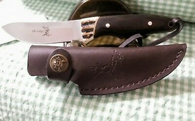 Elk Ridge Stag & Black Wood Upswept Fixed Blade Hunting Knife Leather Sheath NIB