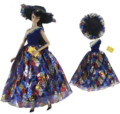 Fashion Royalty Princess Dress//Clothes//Gown+hat+bag For 11 in Doll c12
