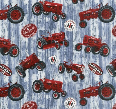 Farmall Tractor /& Word Toss on Blue Print Concepts YARD Hometown Life Fabric