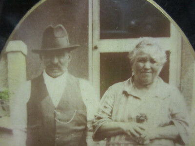 Antique Button Framed Old Couple Photo Turn of the Century 1900s Era Photograph