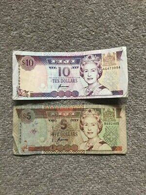 FIJI x 2 Banknotes  -  $5 and $10  QEII