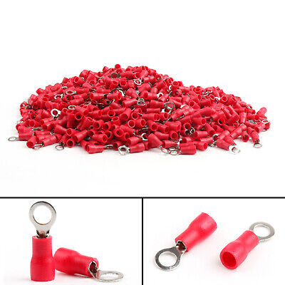 RV1.25-4 Insulated Ring Wire Connector Crimp Terminals Cord 22-16AWG Red