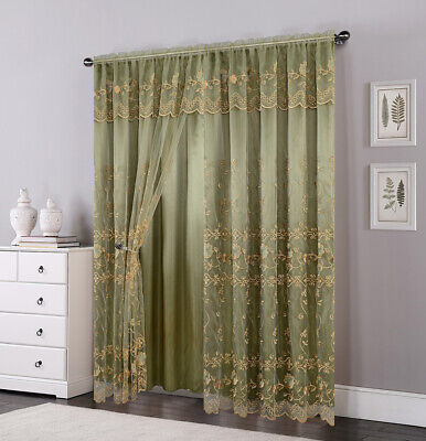 Set of 2 Panels 2 Layers Voile Sheer Rod Pocket Window Curtain Panel and Valance