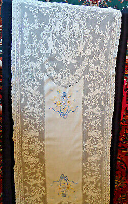 Stunning Antique Bobbin Lace With Inset Embroidery Panel- Cherubs/Doves,Love The