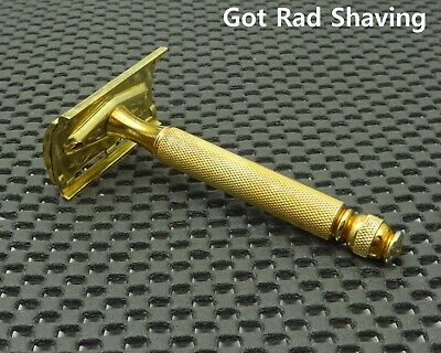 Vintage 1940's Gillette Gold TECH  Ball End DE Safety Razor Clean!!